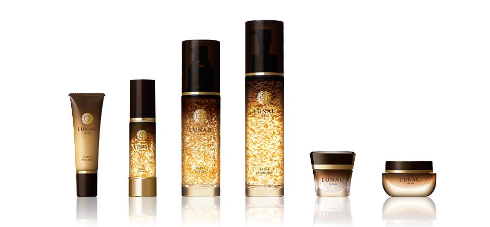 Серия средств по уходу за кожей лица на основе листового и коллоидного золота Лунау, Япония.
